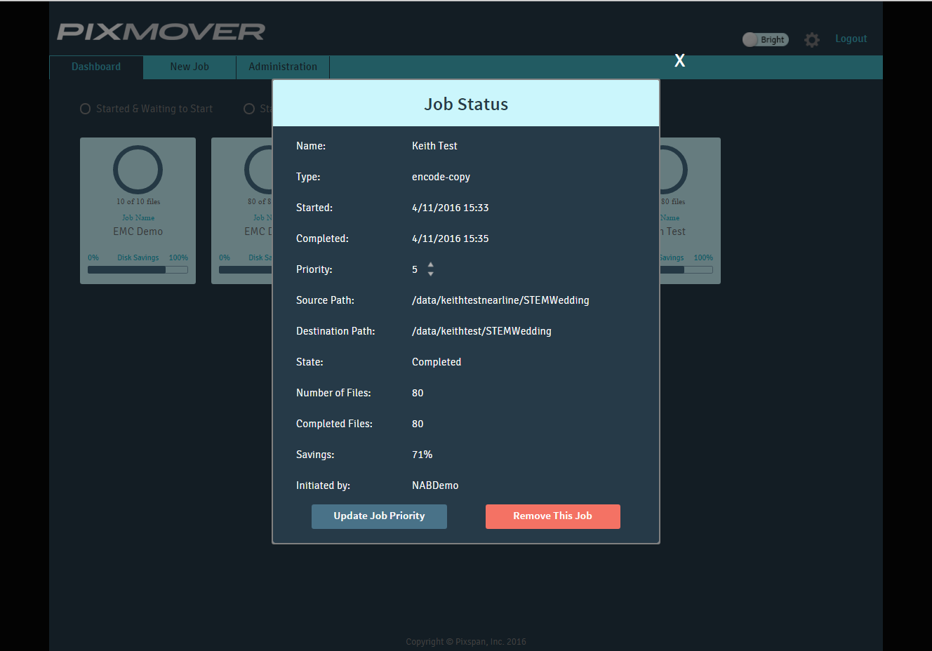 PixMover™ Dashboard